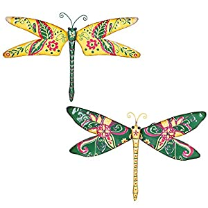 Tropical Design Metal Garden Dragonfly Wall Art Ornament - Two Colours Available by Gardens2you