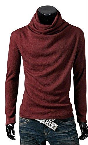 メンズ アフガン ストール タートルネック ハイネック 長袖 Tシャツ カットソー トップス 秋 冬 (レッド M)