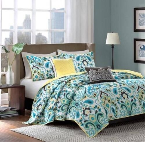 Coverlet Set Quilt 5 Pc Paisley Teal Green Brown Yellow Machine Wash King Fresh front-996414