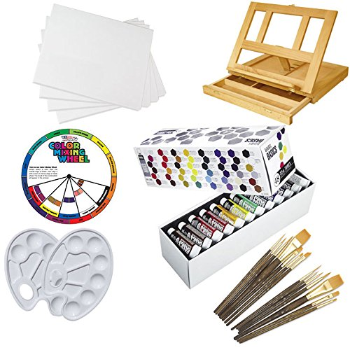 """Custom 48 Color Artist Painting Kit With Easel With Four (4) Art Alternatives 11"""" X 14"""" Framed & Stretched Blank Cotton Canvases, Liquitex Basics 48 Color Acrylic Paint Set, Two (2) White Plastic Color Mixing Palettes, One (1) Large Mixing Guide Color Whe"""