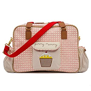 Yummy Mummy Stylish Nursery Changing Bag - True Love Design - Includes Travel Changing Mat Cupcake Design from Pink Lining