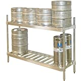 Aluminum Beer Keg Storage Rack - 2 Shelf Unit: 8 Keg Shelf