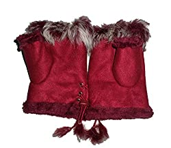 JTC Women's Rabbit Fur / Suede Half Gloves Arm Warmers Hand Warmers (Burgundy)