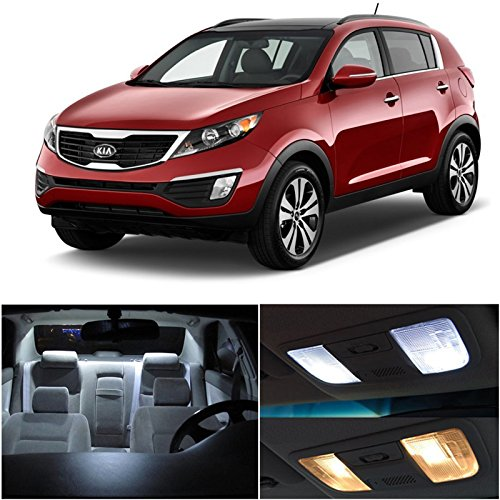 Kia Sportage 2010 & Up Xenon White Premium Led Interior Lights Package Kit (3 Pieces)