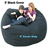 5' Cover Large Black Cozy Sac Bean Bag Chair Love Seat