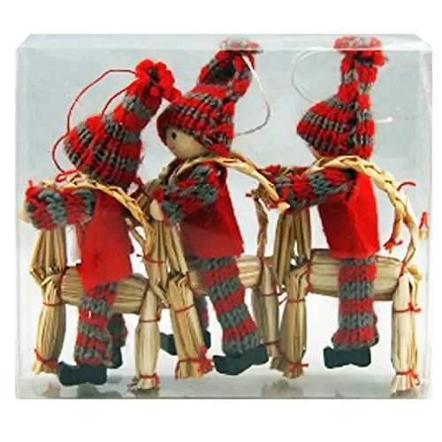 nordic ski ornament tomte girl and boys on straw goat yarn ornament 3 pack - Nordic Christmas Tree Decorations