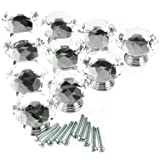 Vktech 10pcs Diamond Shape Crystal Glass Drawer Cabinet Pull Handle Knob (Transparent)