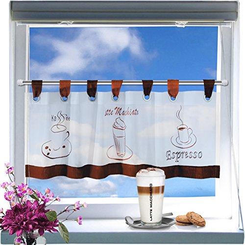 """Kamaca Moderne Kaffee - Gardine """" COFFEE - TIME """" mit Schlaufen, Kurzstore, weißes Voile mit drei typischen Kaffee-Motiven bestickt - (ca H/B 45 x 120) - Neu - auch eine schöne Geschenkidee - Bistrogardine Scheibengardine"""