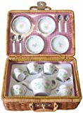 Children's Full-Service Porcelain Tea Party Set in Wicker Carry Case *Perfect Gift Idea for Children, Girls, Boys, Birthday, Holiday, etc.*