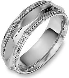 buy 7Mm Comfort Fit 18 Karat White Gold Multi-Texture Wedding Band - 7.75