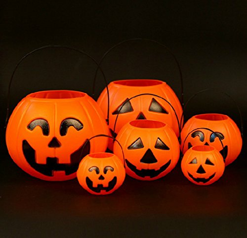 [Halloween Party Decorations Pumpkin Lantern Candle Lights Children Kids Candy Basket Bucket (6 pcs)] (Spider Costume Pattern Free)