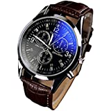 Malloom Men's Luxury Fashion Blue Ray Glass Analog Quartz Brown Watch