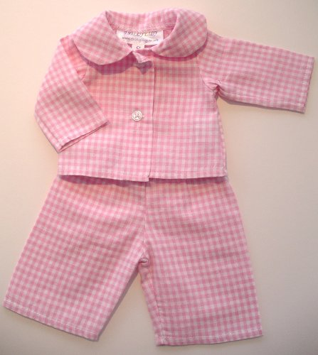 NEW! PALE PINK CHECKED PYJAMAS MEDIUM SIZE TO FIT 18-20 INCH DOLLS AND BEARS