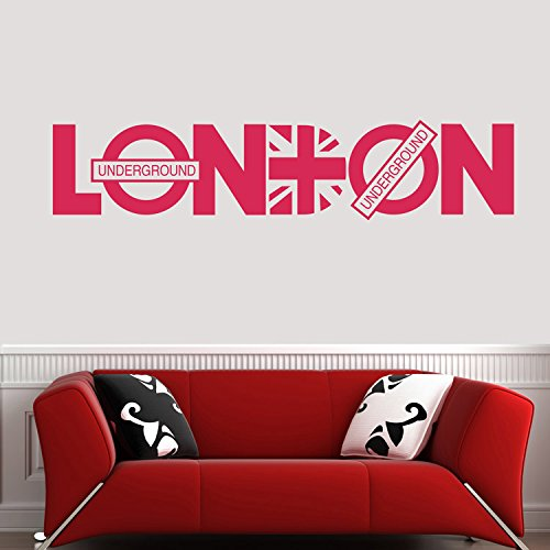 """Colorfulhall 53.5"""" X 11.8"""" Rose Red London City United Kindom Map Union Jack London Underground Wall Decal Wall Quote Saying Lettering Home Room Decoration front-909073"""