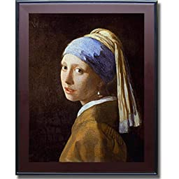 Girl with Pearl Earring by Vermeer Premium Mahogany Framed Canvas (Ready to Hang)
