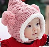 Bluesky 1pcs Lovely Kid Baby Dual Balls Girl Boys Knitting Wool Keep Warm Beanie Cap Hat (Pink)