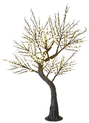 Arclite Nbl-200-6 Cherry Blossom Tree With Leaves, 7' Height, With Black Trunk, Clear Crystals And Warm White Lights
