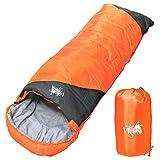 丸洗いOK White Seek 寝袋 シュラフ 封筒型【最低使用温度0℃ 1300】コンパクト収納 (オレンジ)