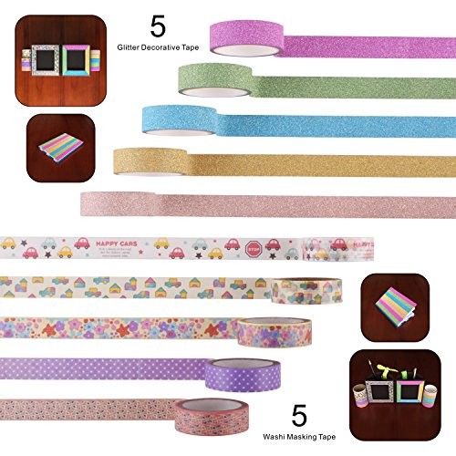 10-rolls-decorative-colorful-funny-japanese-washi-masking-tape-and-glitter-adhesive-paper-tape-perfe