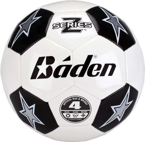 Baden Z-Series Size 4 Cushioned TPU  Soccer Ball, Black/White