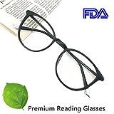 Reading Glasses 3.0 Black Round Eyeglasses Frames for Women, Light Weight Glasses