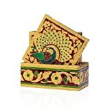 Rangsthali: Designer Meenakari Wooden Golen Color Tea Coster Set Of 6 Pcs