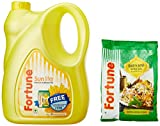 #2: Fortune Sunlite Refined Sunflower Oil Can, 5L with Free Basmati Rice, 1kg