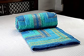 Jodhaa Doubles cotton Razai / Quilt in Blue/Green/Turq/Gold Combo - Queen Size