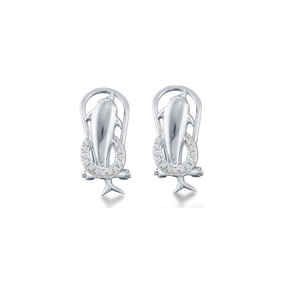 10k White Gold Channel Set Round Diamond Dolphin Hoop Earrings   (.08 cttw)