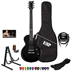 ESP LTD EC10KIT-BLK Electric Guitar with Lesson, ESP Gig Bag, ChromaCast 10' Cable, Strap, Stand, Tuner and Picks by ESP