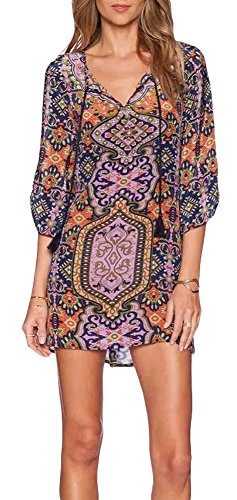 Women Bohemian Neck Tie Floral Print Ethnic Style Shift Dress (Medium, pattern 5)