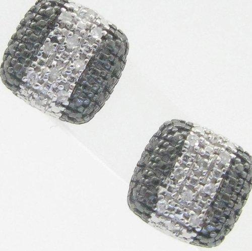 Mens 925 Sterling Silver earrings fancy stud hoops huggie ball fashion dangle black white pave earrings