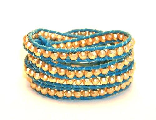 Gold Nugget Turquoise Leather Multi Wrap Bracelet Chunky Men Women