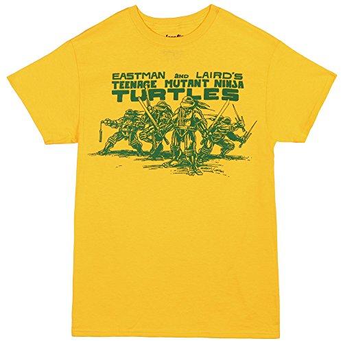 Teenage Mutant Ninja Turtles Eastman and Laird Cover Art T-Shirt - Yellow (X-Large) (Yellow Ninja Turtle Shirt compare prices)