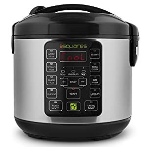 3 Squares 3RC-3010S TIM3 MACHIN3 20-Cup (Cooked) Rice Cooker and Multi Cooker, 4-Quart Capacity
