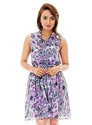 Purple Color Flower Print Collar Dress