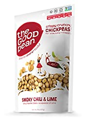 The Good Bean Chickpea Snacks, Smoky Chili/Lime, Gluten and Nut Free, 6 Ounce