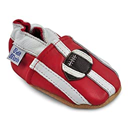 Petit Marin Beautiful Soft Leather Baby Shoes with Suede Soles - Toddler / Infant Shoes - Crib Shoes - Baby First Walking Shoes - Pre-walker Shoes - Football - 12-18 Months (20 Designs)