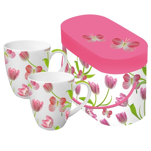 Paperproducts Design Tulips 11-Ounce Porcelain Mug, Set Of 2