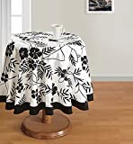 Swayam Libra 4-Seater Cotton Round Table Cover - Black and White