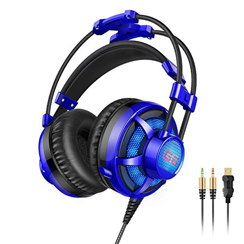 Honstek G6 Wired PC Gaming Headset with Foldable Microphone, Volume Control, LED, Comfortable Headset with USB and 3.5mm Stereo Surround for PC/PS3/PS4/Xbox One/Xbox 360/Phone/Mac/Laptop (Black-blue) (Mobile Gaming Earbuds compare prices)
