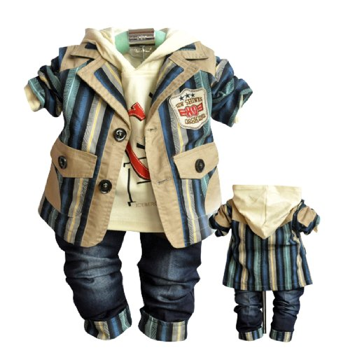 SOPO Cute Baby Boy Outfits (Striped Jacket, Shirt, Jeans) 3 Piece Set Blue 9-24M