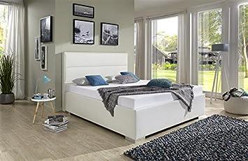 Breckle Polsterbett, Bett 100 x 200 cm Caplas Comfort 28 cm Höhe Stärke 3 cm Überstehend Leder Optik schwarz