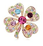 Elegant Coloful Full Rhinestone Clover Flower Decorative Brooch Jewellery For Lady,100305