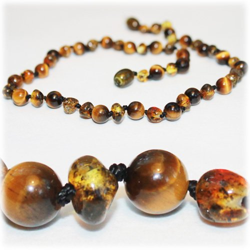 The Art of Cure Baltic Amber Teething Necklace for Baby (Green/Tigers Eye) - Anti-inflammatory ... - 1