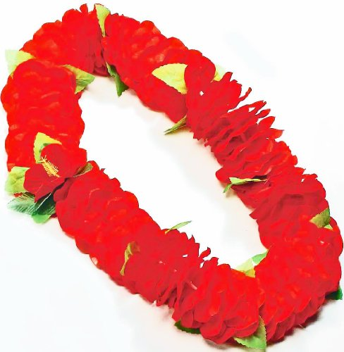 Forum Novelties Deluxe Color Dipped Red Silk Flower Hawaiian Lei