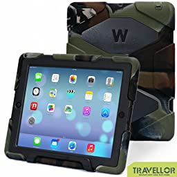 iPad Cases,iPad 2 Case,iPad 4 Case,TRAVELLOR®[Heavy Duty] iPad Case,Three Layer Armor Defender And Full Body Protective Case Cover With Kickstand And Screen Protector for iPad 2/3/4 - Army/Black