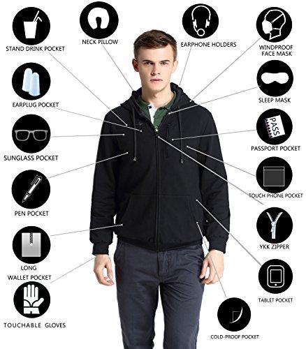 Xy37 Men Travel Jacket Hoodie 10 Pockets Travel Pillow Eye