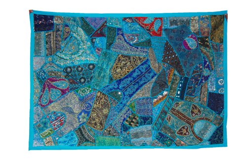 Decorative Indian Wall Hanging With Graceful Sequins Beads Mirrors, Zari Silk Thread Embroidery  &  Multicolor Old Sari Patchwork Good Condition Tapestry, 152 X 101 Cm