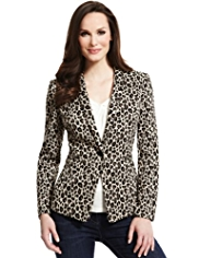 Plus Animal Print 1 Button Ponte Jacket